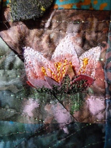 Detail of 3-D water lily from Willows & Waterlilies